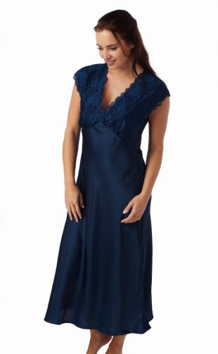 Ladies Long Satin and Lace Built-up Shoulder Nightdress Navy in Sizes  10-28